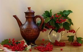 Картинка осень, ягоды, натюрморт, калина