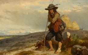 Картинка рисунок, масло, картина, картон, Подпасок, Eugene Modeste Edmond Lepoittevin