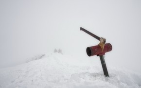 Картинка зима, снег, топор