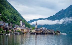 Картинка лес, озеро, дома, Австрия, Гальштат