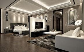 Картинка дизайн, комната, мебель, интерьер, спальня, гостиная