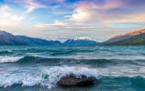 Картинка волны, брызги, озеро, камень, всплески, Новая Зеландия, New Zealand, Dominic Kamp, Ohau, Охау