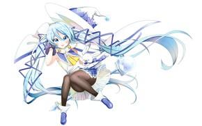 Картинка аниме, арт, девочка, зверек, Vocaloid