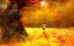 Картинка осень, лес, девочка, школьница, by 00