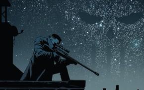 Обои Sniper rifle, Punisher, Weapon, Фрэнк Касл, Night, Killer, Каратель, Символ, Снайперская винтовка, Marvel, Снайпер, Sky, ...