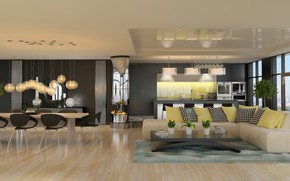 Обои дизайн, table, sofa, living room, стулья, подушки, гостиная, design, interior, стол, интерьер, диван