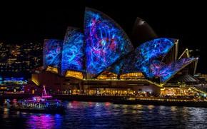 Картинка море, вода, космос, ночь, город, огни, блики, темнота, люди, здание, здания, освещение, Австралия, шоу, Сидней, …