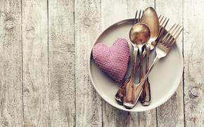Картинка тарелка, сердечки, love, heart, romantic, вилки, ложки, valentine`s day