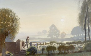 Картинка пейзаж, картина, Мальчик-пастух. Рассвет, George Clausen, Джордж Клаузен