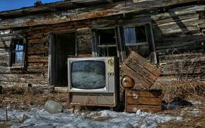 Картинка небо, дом, телевизор