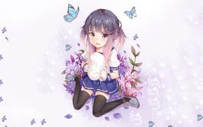 Картинка взгляд, бабочки, аниме, девочка