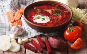 Картинка лук, суп, мясо, овощи, морковь, борщ, tomatoes, meat, vegetables, свекла, soups