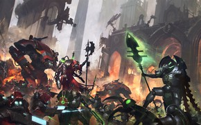 Картинка necrons, Warhammer 40 000, lord necron, techpriest, forge world, Adeptus Mechanicus, Forgebane