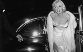 Картинка улыбка, модель, актриса, блондинка, автомобиль, Мэрилин Монро, Marilyn Monroe