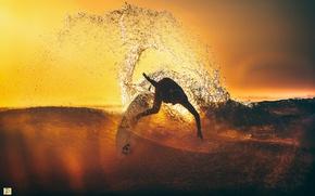 Картинка море, волны, свет, тепло, океан, сёрфинг, сёрфингист