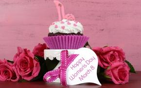 Картинка праздник, сердце, розы, красные, пирожное, бант, 8 марта, кекс, капкейк
