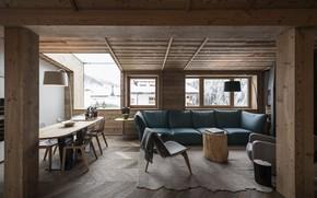 Обои интерьер, гостиная, столовая, горный дом, Rosa Alpina Penthouse