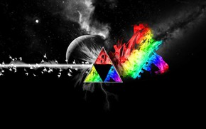 Картинка Музыка, Луна, Космос, Треугольник, Pink Floyd, Голуби, Призма, Рок, Тёмная сторона Луны, Пинк Флойд, The …
