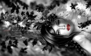 Картинка девушка, брюнетка, губы, нуар