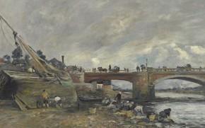 Картинка пейзаж, река, лодка, картина, Эжен Буден, Eugene Boudin, Прачки у Моста