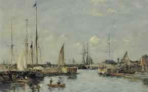 Картинка корабль, картина, парус, Эжен Буден, Eugene Boudin, Shipping Lock at Trouville