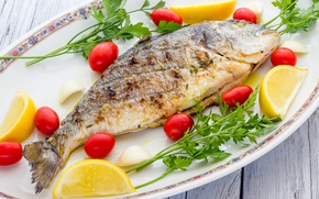 Картинка зелень, лимон, рыба, тарелка, овощи, помидоры, fish, tomatoes, lemons