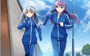 Обои бегут, девушки, Grisaia: Phantom Trigger, спорт