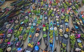 Картинка лодки, Индонезия, торговля, плавучий рынок, Лок-Бланьян, река Мартапура