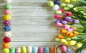 Картинка цветы, flowers, Happy, eggs, spring, tulips, тюльпаны, Пасха, яйца, Easter, wood, colorful, decoration, весна