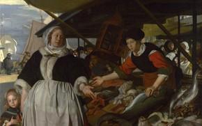 Картинка рыба, базар, Emanuel de Witte, Нидерландская живопись., Adriana van Heusden, and Daughter, The Fishmarket, ca.1662