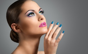 Картинка girl, Brunette, make up, painted nails