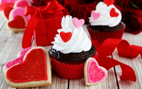 Картинка сердечки, red, love, romantic, hearts, sweet, valentine's day, cupcake, кексы