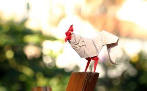 Картинка бумага, оригами, петух