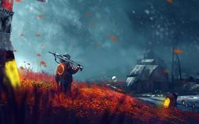 Обои field, weapon, winter, snow, alone, painting, digital art, windmill, rifle, artwork, snowfall, building, barn, farm, ...