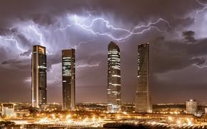 Картинка ночь, город, молнии, Madrid, Almenara