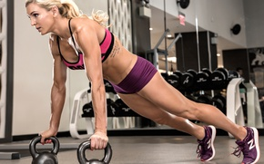 Картинка blonde, female, fitness, Pushups, gym workout