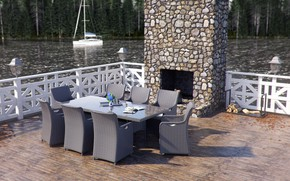 Картинка мебель, яхта, дрова, водоём, Rattan Furniture CGI