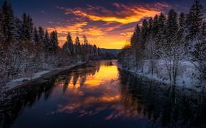 Обои зима, река, ночь