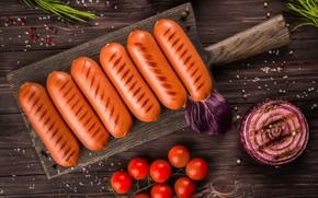 Картинка сосиски, лук, помидоры, гриль