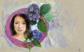 Обои взгляд, листья, девушка, цветы, лицо, фон, милая, рисунок, графика, портрет, обработка, светлый, картина, актриса, брюнетка, ...