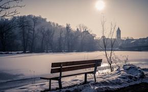 Картинка зима, снег, город, скамья