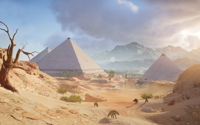 Картинка песок, пустыня, пирамида, Египет, Assassin's Creed: Origins