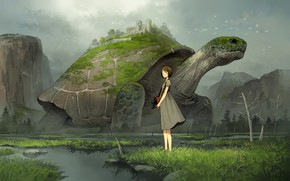 Картинка девушка, черепаха, аниме, арт