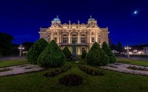 Картинка деревья, ночь, здание, Польша, памятник, театр, Poland, Краков, Krakow, Juliusz Słowacki Theatre, Театр имени Юлиуша …