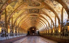 Картинка Мюнхенская резиденция, галерея, Бавария, архитектура, зал, Германия