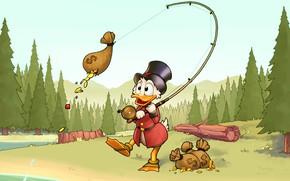 Обои лес, золото, рыбалка, монеты, Disney, удочка, Scrooge McDuck, Duck Tales