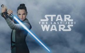 Обои поза, оружие, фон, фантастика, надпись, меч, брюнетка, красотка, постер, световой меч, Rey, Daisy Ridley, Дэйзи ...