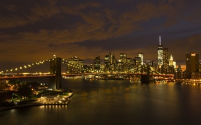 Картинка небо, мост, огни, здания, Нью-Йорк, вечер, США