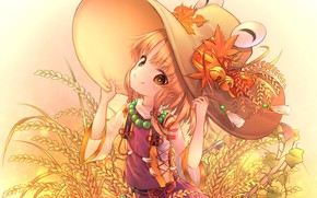 Картинка взгляд, шляпа, арт, девочка, Тохо, Тоухоу