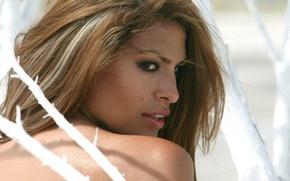 Картинка взгляд, модель, портрет, актриса, Eva Mendes, профиль, Ева Мендес